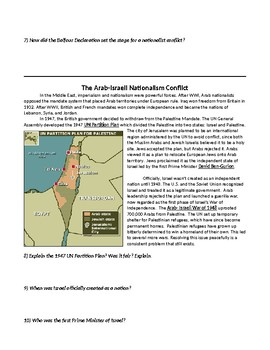 Arab Israeli Conflict Reading & Activities 2 days Conflict of Nationalism