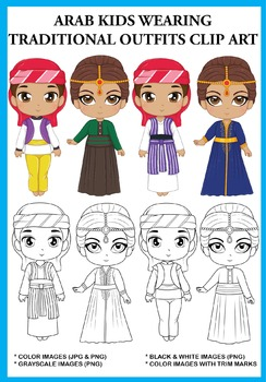 Arab Kids Traditional Outfits Clip Art