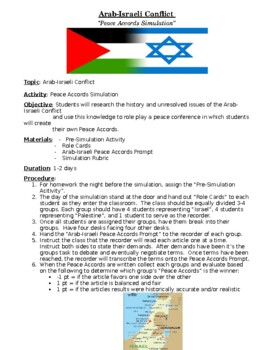 Arab and Israeli Conflict Peace Accords Simulation and Lesson Plan