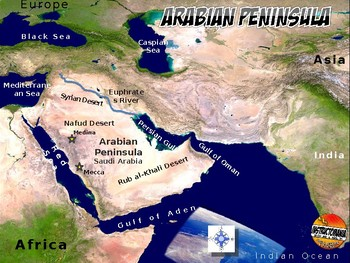 Arabian Peninsula Satellite Map Physical Geography PowerPoint Introduction