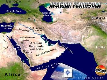 Arabian Peninsula Satellite Map Physical Geography Instructional Activity