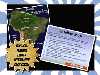 South America Satellite Map Physical Geography PowerPoint