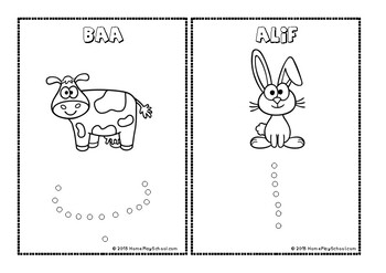 Arabic Alphabet Animals Dot Paint and Colour