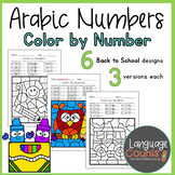 Arabic Color by Number- Back to School