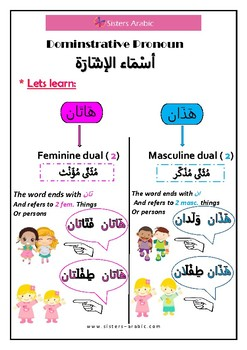 Arabic Demonstrative Pronoun هَاذان و هَاتَان