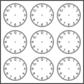Clock Cutout for Language Learning (High Resolution)