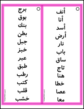Arabic Letter Forms Word Lists