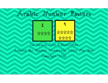 Arabic Number Cards 1-20