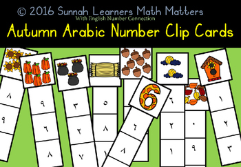 Arabic Number Connection Clip Cards