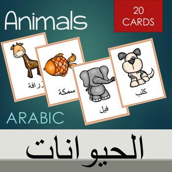 Arabic animals vocabulary cards