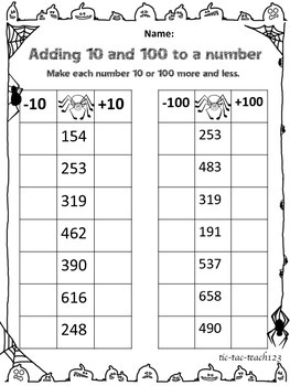 Adding And Subtracting 10 And 100 Worksheets Teaching Resources ...