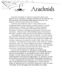 Arachnids Article with Questions and Answer Key