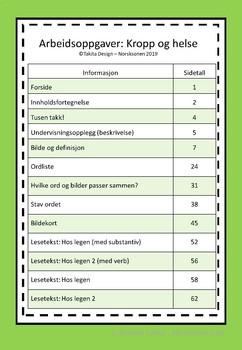Arbeidshefte med oppgaver: Kropp og helse (A1)