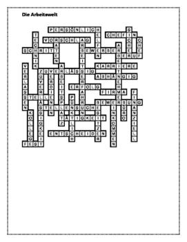 Arbeitswelt (Work in German) Crossword