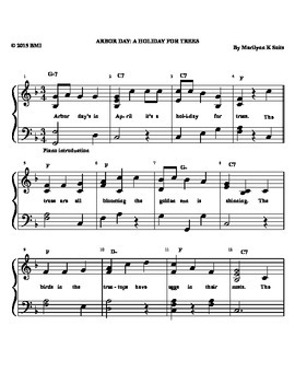 Arbor Day - A Holiday for Trees. Easy piano w/ lyrics about trees & springtime.