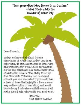 Arbor Day - Parent Letter