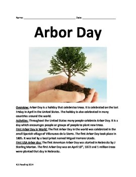 Arbor Day - Informational Lesson Facts History Questions Vocab Word Search