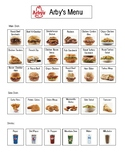 Arby's Order Form Picture Menu