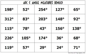 Arc and Angle Measures in Circles Bingo