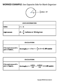 Arc Length Graphic Organizer