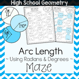 Arc Length Maze Worksheet - Degrees & Radians Maze Activity
