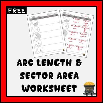 Arc Length Sector Area Practice Worksheet Free By Teacher Mine