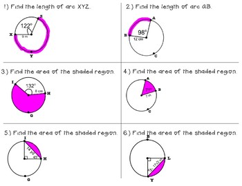 Arc Length, Sector Area, Segment Area Foldable