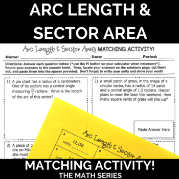 Arc Length Sector Area Word Problems Matching Activity By The Math