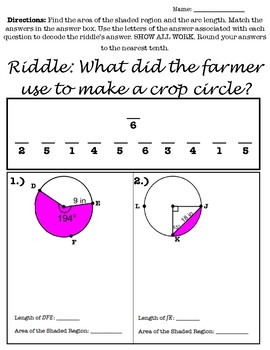 Arc Length, Sector Area and Segment Area Riddle