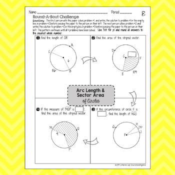 Arc Length & Sector Area of Circles: RoundABout Cooperative Learning Activity