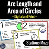 Arc Length and Area of Sectors Stations Maze Activity