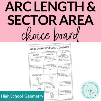 Arc Length and Sector Area Choice Board