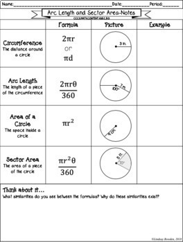 Arc Length and Sector Area Guided Notes and Worksheets by ...