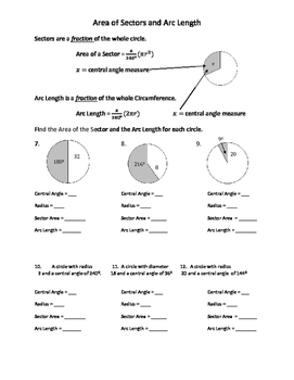 Arc Length and Sector Area of Circles Practice