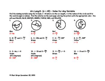 Arc Length - (arc length = radius times theta) - Solve For Any Variable