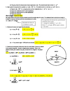 Arc Length,  & review of Sectors, Segments, Radians, Degrees - with Answer Key