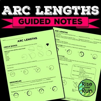 Arc Lengths Guided Notes with Practice