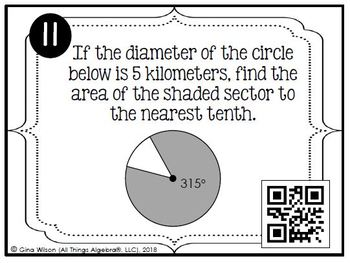 Arc Lengths and Area of Sectors Task Cards
