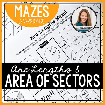 Arc Lengths and Area of Sectors of Circles Mazes