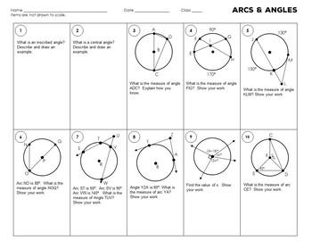 Circle Theorems: Arc Measures Worksheet