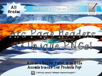 Arc Page Headers Clip Art Bundle Frames, Borders, Edges