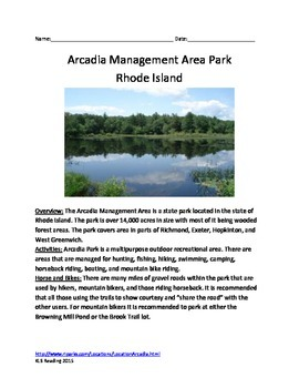 Arcadia State Park - Rhode Island - Informational Article Questions Vocab