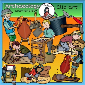 Archaelogy clip art -Color and B&W-