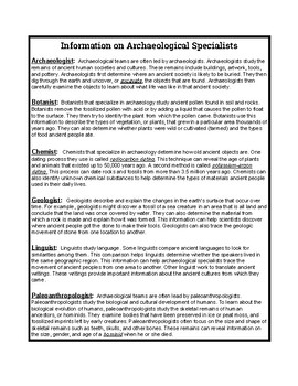 Archaeological Specialists Information Sheet (Part 1)