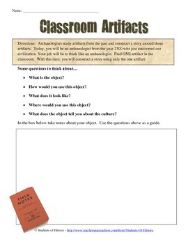 Archaeologist Classroom Artifact Worksheet by Students of History