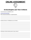 Archaeologists and Their Artifacts ONLINE ASSIGNMENT (PDF/GOOGLE CLASSROOM)