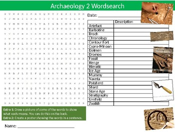 Archaeology #2 Wordsearch Puzzle Sheet Starter Activity Keywords Geology