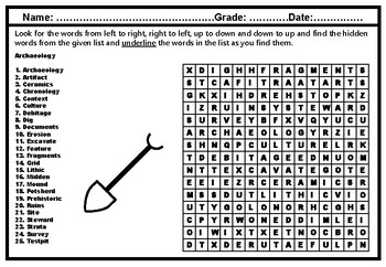 Archaeology, Word Search Puzzle Worksheet, Social Studies No Prep Sub Plan