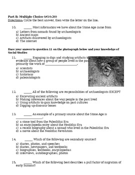 Archaeology and Early Humans Unit Test (S.S. Framework aligned)