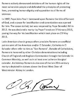 Archbishop Oscar Arnulfo Romero Handout